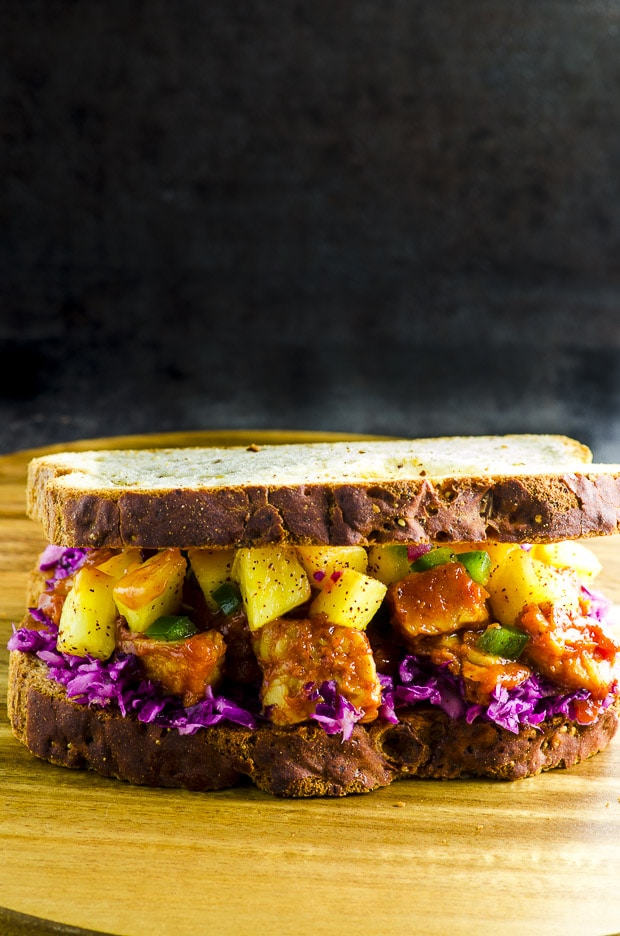 Gluten Free Bbq Tempeh Sandwich with Pineapple Salsa