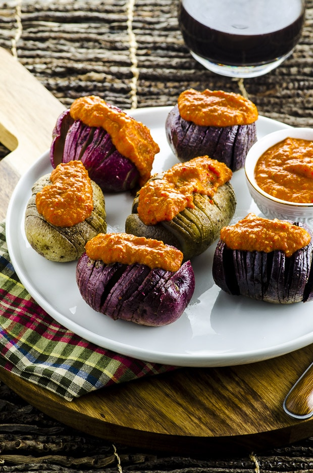 Grilled Tricolor Hasselback Potatoes with Romesco Sauce ...
