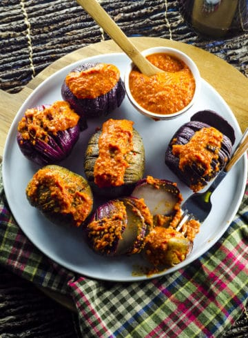 Grilled Tricolor Hasselback Potatoes with Romesco Sauce