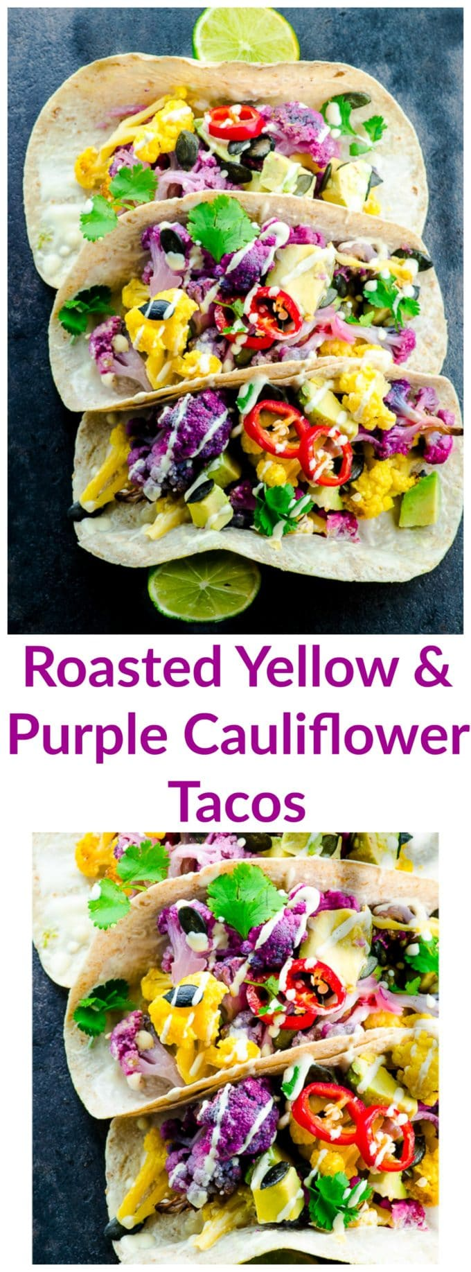 These healthy Roasted Yellow and Purple Cauliflower Tacos, topped with cashew cream are good for you and absolutely stunning. Like a bright rainbow on a plate!