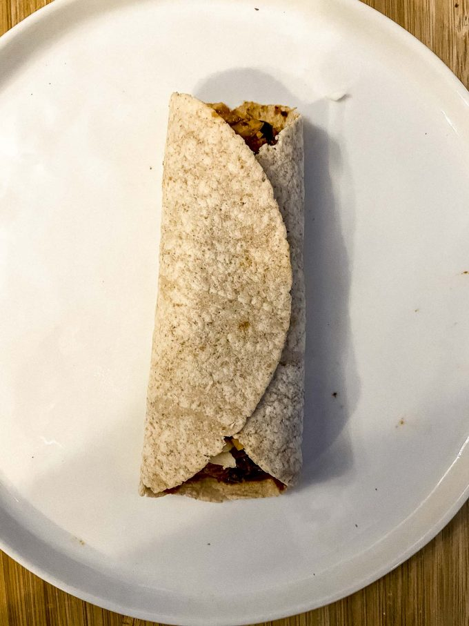 Rolled flour tortilla for veggie enchiladas