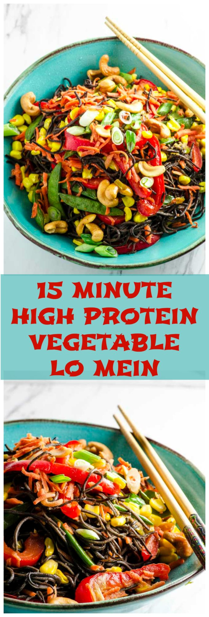 15 Minute High Protein Vegetable Lo Mein - a quick, easy, nutritious and delicious dish that is ready in a snap!