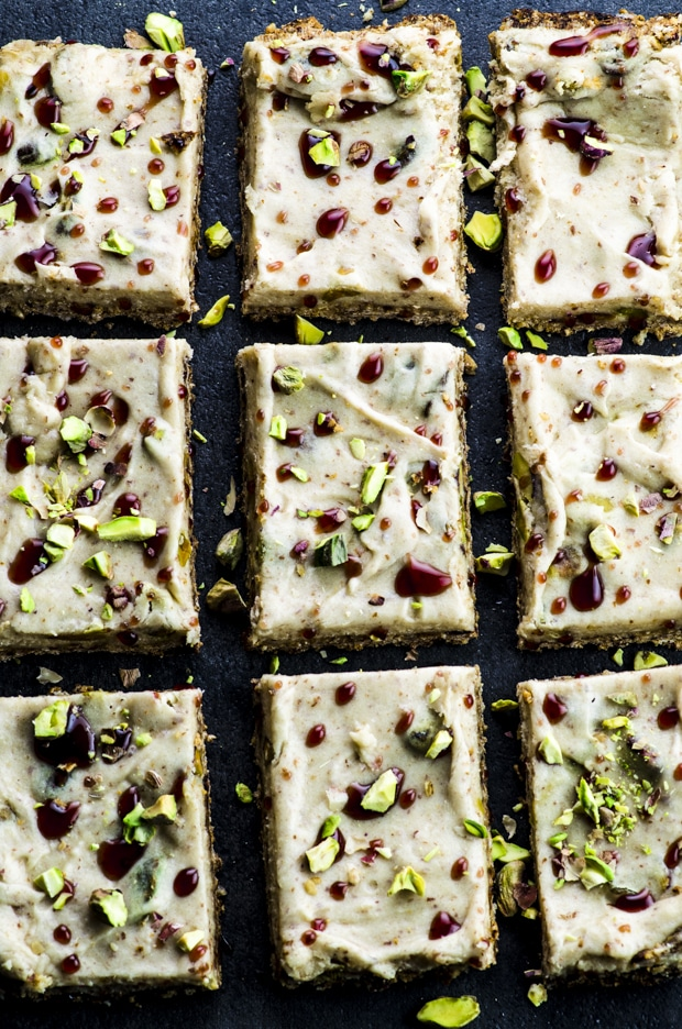 Close up of halva bars on a black surface