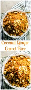 This flavorful , grain free Passover Coconut Ginger Carrot Rice is a great side dish to serve during the Holiday and all year long. Vegan and gluten free.