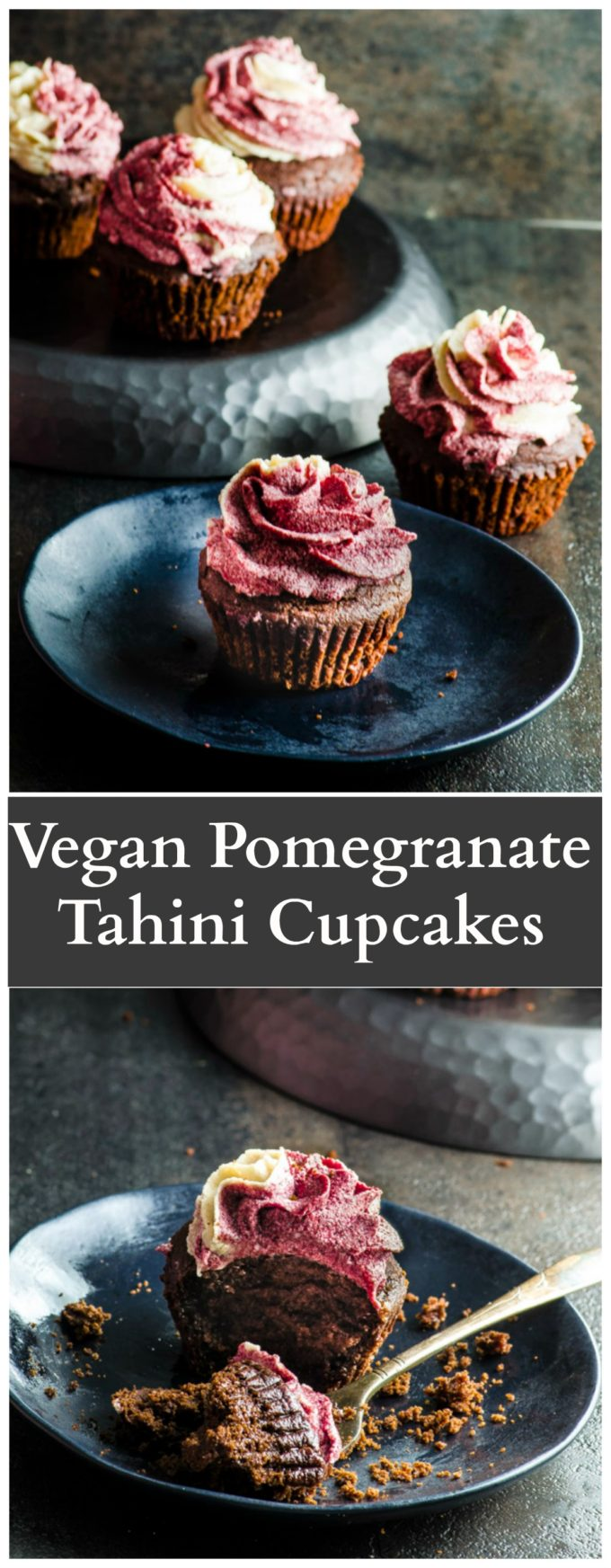 Vegan Pomegranate Tahini Cupcakes - rich and moist chocolate cake topped with creamy tahini and pomegranate molasses icing.