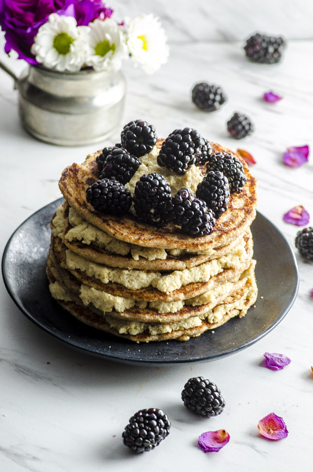 Surprise Mom with breakfast in bed on Mother's Day! These Vegan Whole Wheat Pancakes With Lemon Cashew Ricotta are easy, elegant and delicious.