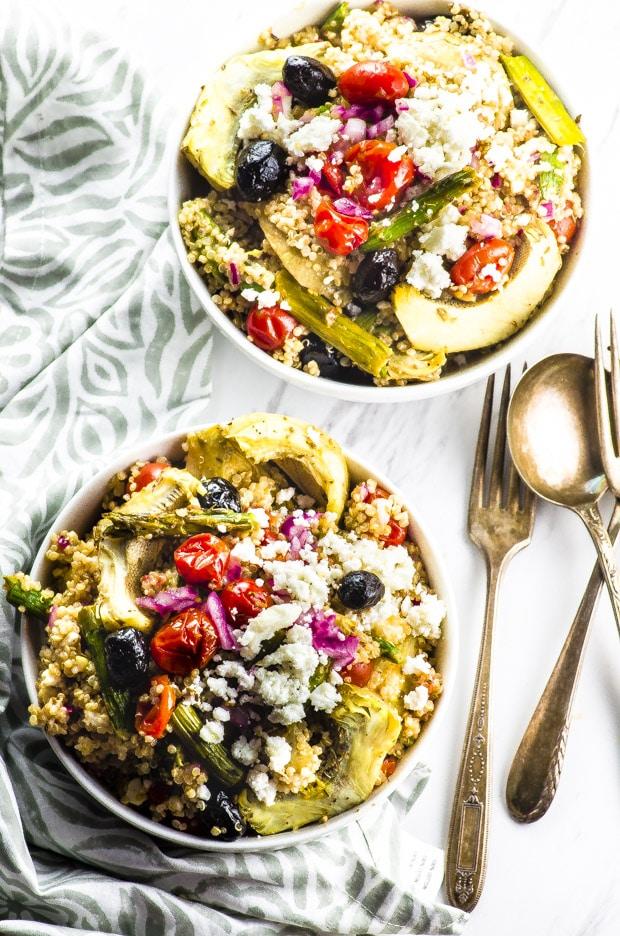 Roasted Vegetable And Quinoa Greek Salad