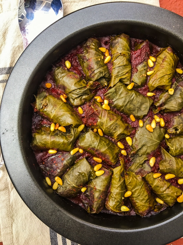 Quinoa Stuffed Grape Leaves In Red Wine Sauce - Vegan, vegetarian, gluten free, holiday recipe, passover recipe