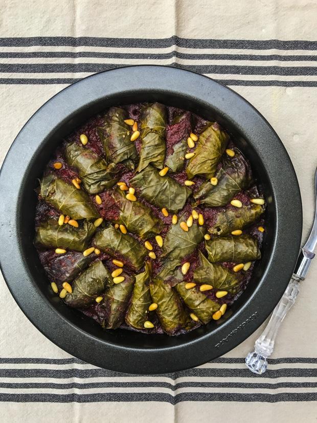 Quinoa Stuffed Grape Leaves In Red Wine Sauce - Vegan, vegetarian, gluten free, holiday recipe, passover recipe
