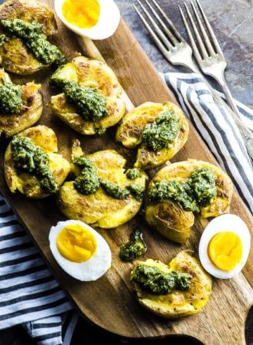 Smashed Potatoes with Chimichurri