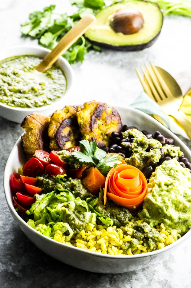 Yellow Rice Burrito Bowl with Tostones and Tomatillo Salsa Vegan, gluten free and full of fiber and nutrients... without the tortilla!