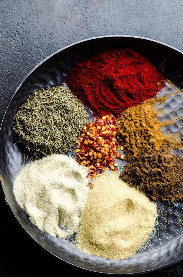 Jamaican Jerk Spice ingredients in a metal wide bowl