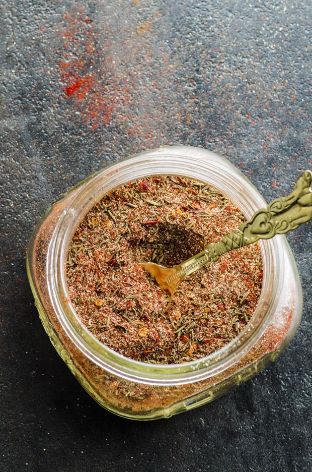 Jamaican Jerk Spice in a glass jar