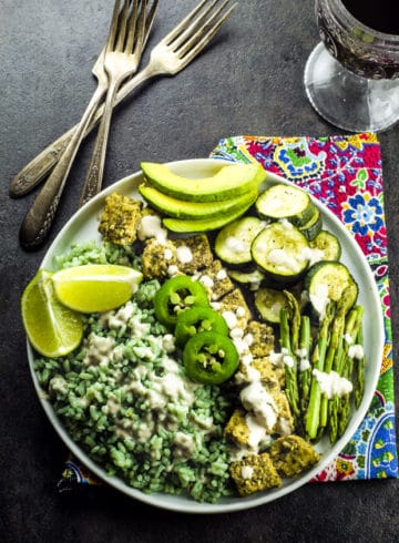 Bamboo Rice And  Za'atar Tempeh Spring Bowl
