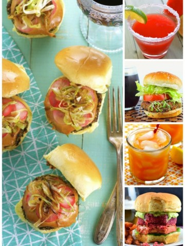 Here's a roundup of some of our summer faves! 10 Veggie Burgers And Drinks For Memorial Day ... or any summer BBQ!