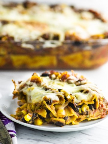 Your tastebuds will dance with this high protein Mexican lasagna that is bursting with flavor. This lasagna with keep you full and satisfied for hours. It can be made vegan or vegetarian.
