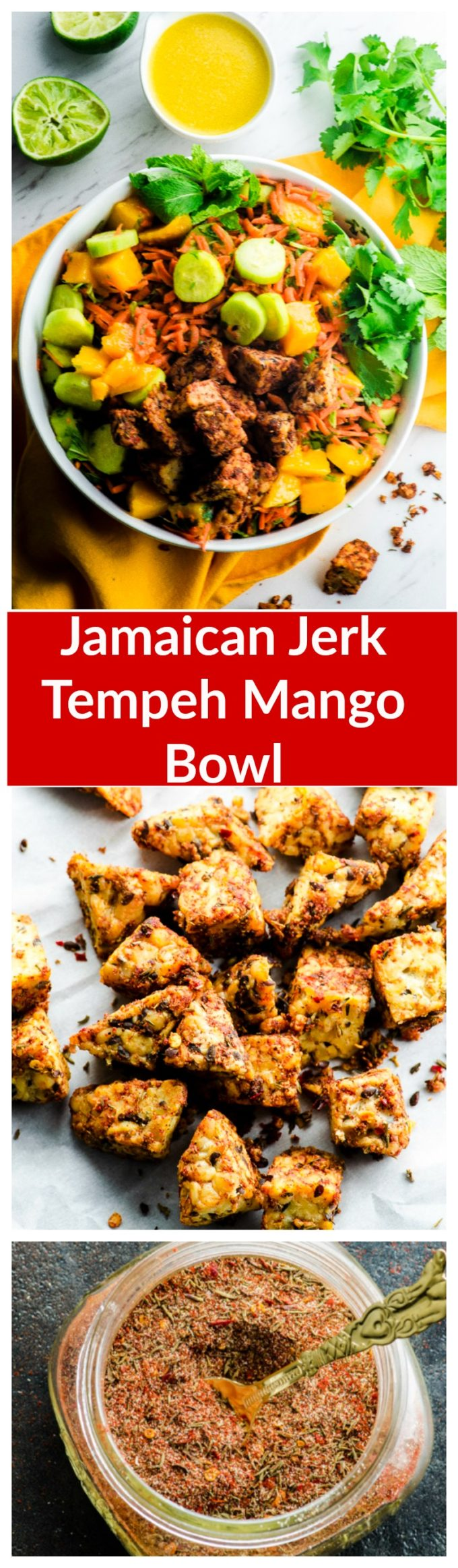 amaican Jerk Tempeh Mango Bowl. A light, spice and flavor filled dish that has the perfect balance of sweet, tangy and spicy.