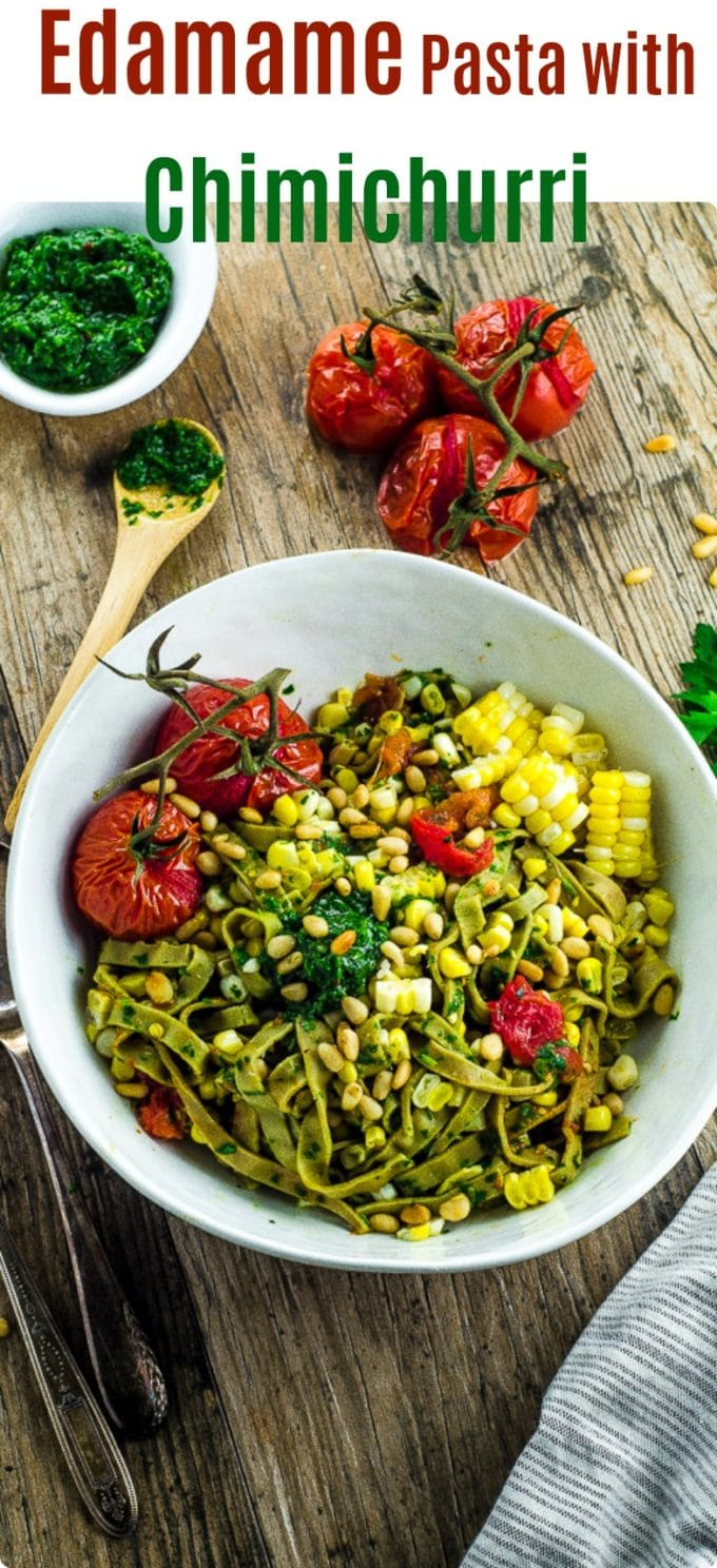 This Edamame Pasta With Chimichurri Sauce gives a nice protein boots and is a great summery vegan dish. You can enjoy it cold or warm! We used roasted garlic for our chimichurri sauce, for a milder garlic flavor that doesn't stay with you all day.