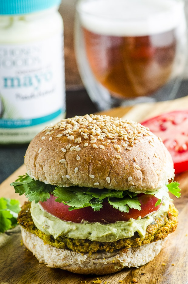 Falafel Veggie Burger With Avocado Tahini Cream