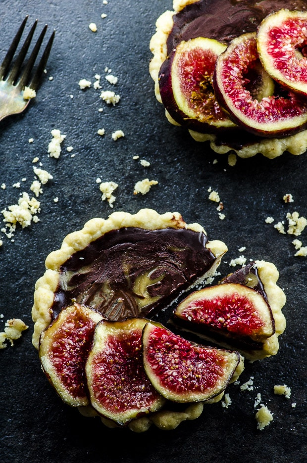Birds eye view of two chocolate truffle tart with fresh figs
