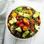 Lentil avocado and tomato salad