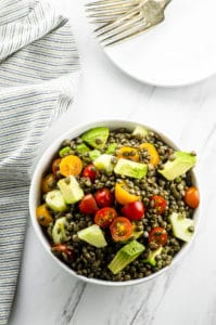 Lentil Avocado Tomato Salad. Fresh, colorful and satisfying salad. Good for lunch or dinner or as a side dish for your next gathering or BBQ.