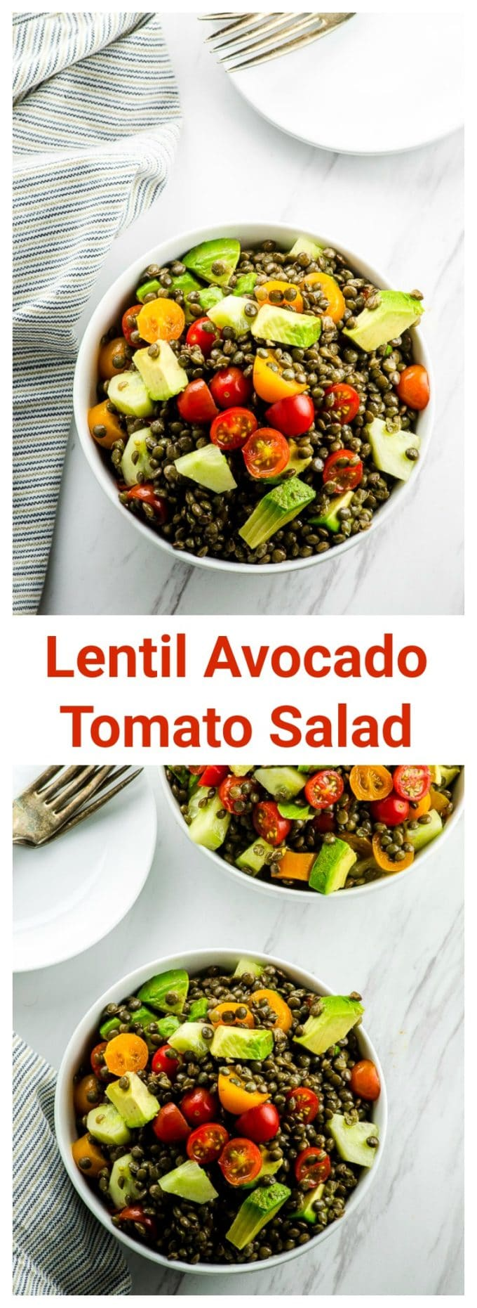Avocado Tomato and Lentil Salad. A fresh, colorful and protein loaded salad, that is great for lunch or dinner or as a side dish for your next gathering or BBQ