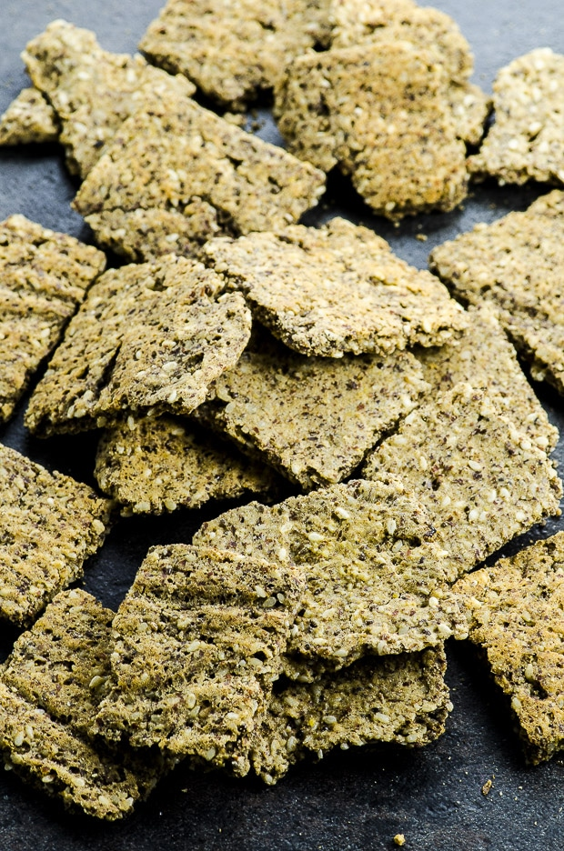 These Low Carb Vegan Protein Crackers are a great on the go post workout or mid day savory snack, for when you're not in the mood for something sweet!