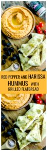 "Get ready to entertain this summer with this Red Pepper and Harissa Hummus with Grilled Flatbread ! Brushed with olive oil, seasoned with Fine Grind Pink Himalayan Salt and a touch of thyme and grilled to perfection, this flatbread is a delicious ""transportation device"" for the flavored packed hummus."