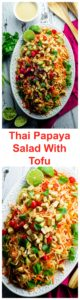 Thai Green Papaya And Tofu Salad . A light, refreshing one bowl meal ready in 20 minutes!
