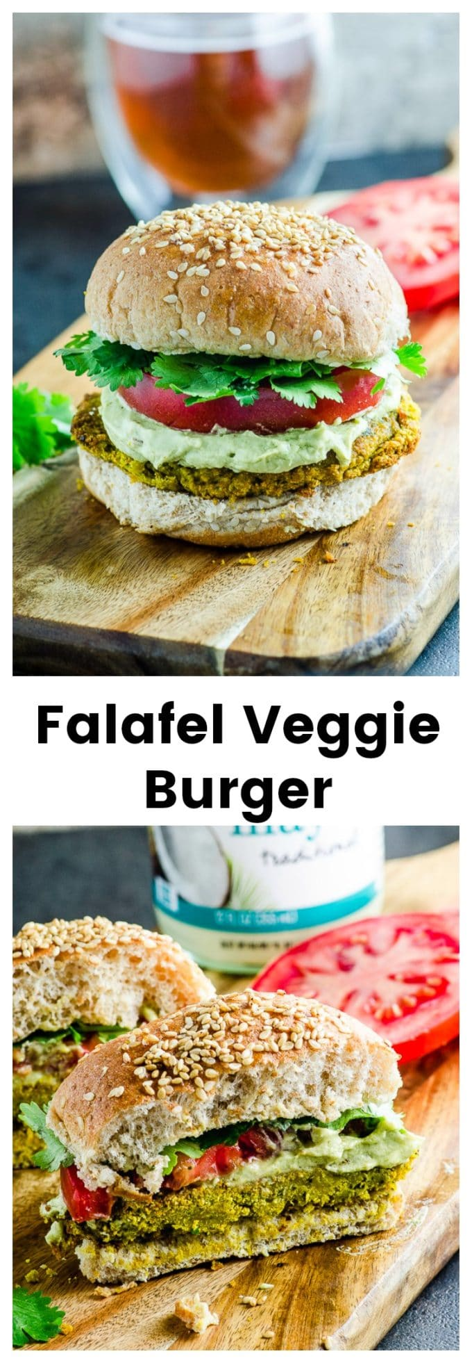 Tired of the same old boring frozen veggie burgers? Give this Falafel Veggie Burger With Avocado Tahini Cream a try! Easy to prepare and loaded with spices... and flavor! @chosenFoods