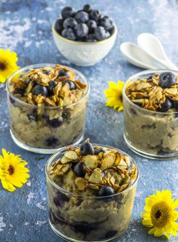 If you like protein oats (aka proats), you'll  love these Blueberry Muffin Protein Grits! Hearty and satisfying, with a hint of cinnamon and topped with maple toasted almonds, to start your day strong. Vegan and  gluten free. breakfast
