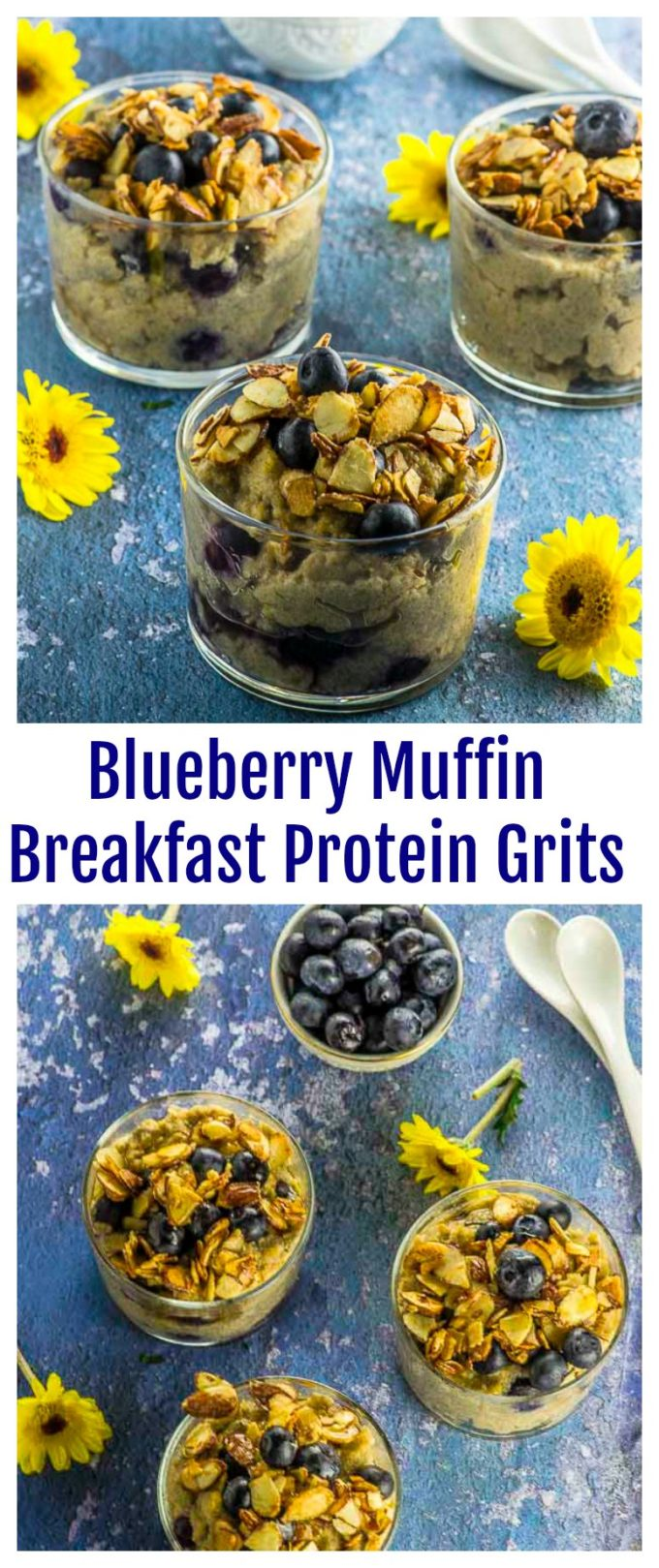 If you like protein oats (aka proats), you'll  love these Blueberry Muffin Protein Grits! Hearty and satisfying, with a hint of cinnamon and topped with maple toasted almonds, to start your day strong. Vegan and  gluten free. breakfast.