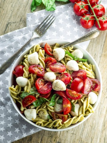 birds eye view of a hight protein capers pasta salad gluten free and can be made vegan too