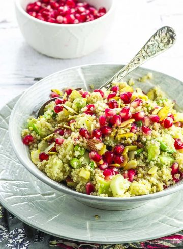 Quinoa Pomegranate Salad with Orange Tahini Dressing