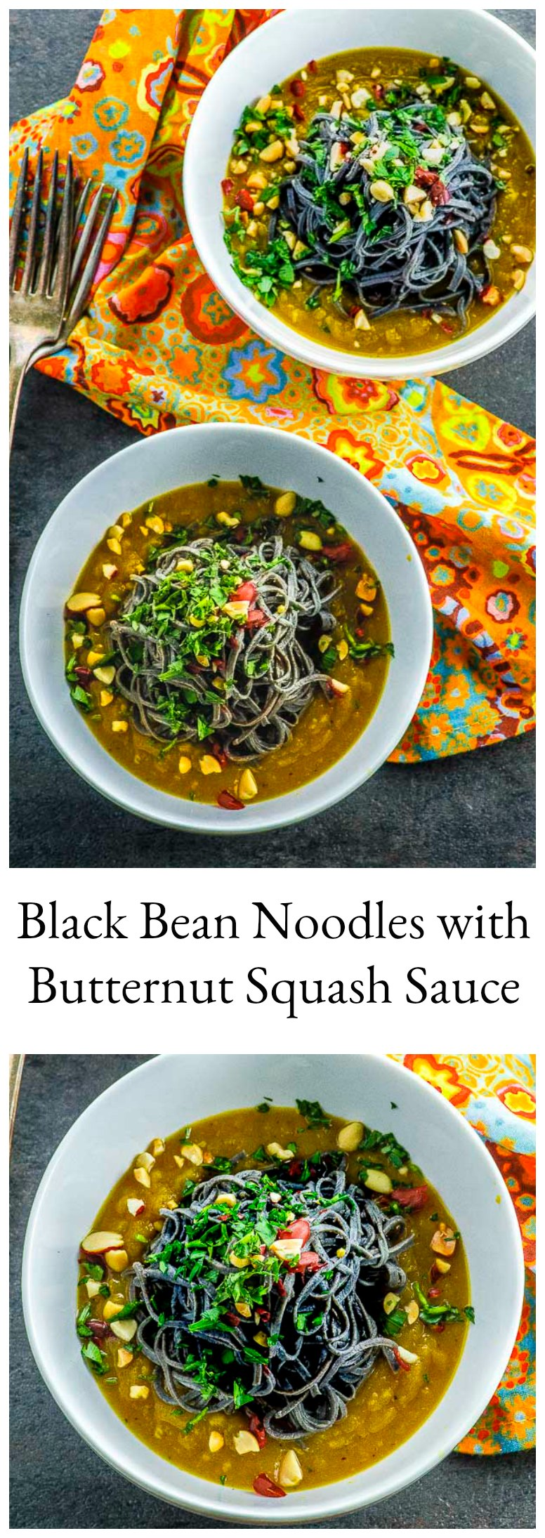 The flavor of these high proteinBlack Bean Noodles with Butternut Squash Sauce is enhanced with the light and creamy butternut squash sauce with Asian influenced flavors. Ready in 30 minutes !