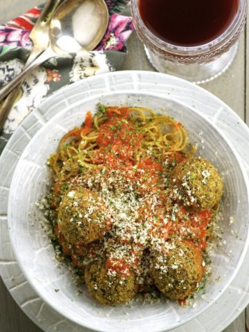 Need a new idea for Meatless Monday? Give these Spaghetti and Veggie Meatballs a try. They are deliciously satisfying and possibly the best veggie meatballs you will ever taste!