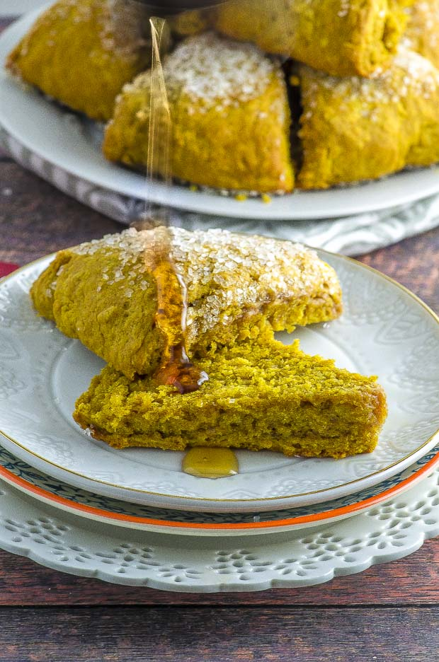 pumpkin scones drizzled with maple syrup