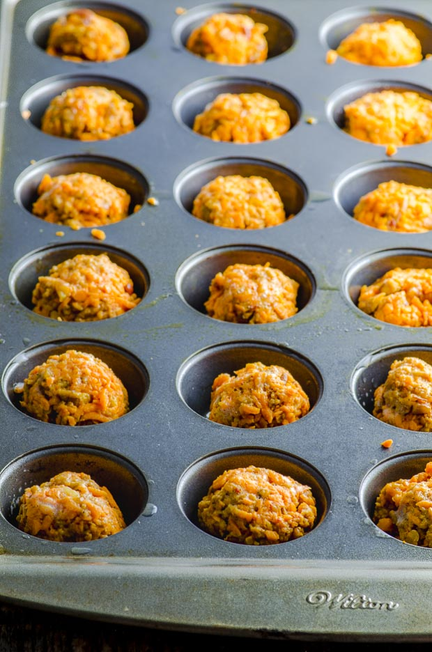 Raw sweet potato veggie meatballs in a mini muffin tin