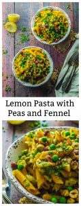 This High Protein Lemon Pasta with Peas, Fennel and Toasted Hazelnuts with a splash of white wine will be ready for you to enjoy in less than 20 minutes. This lemon pasta dish is made with red lentil penne and it packs 16 grams of protein per serving.
