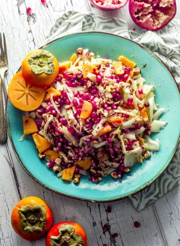 Persimmon Fennel Salad with Pomegranate Plus 2 videos!