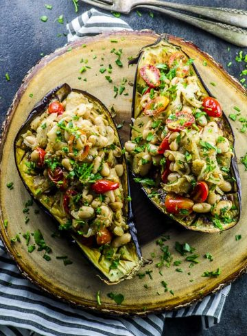 Stuffed Eggplant with Fennel and White Beans