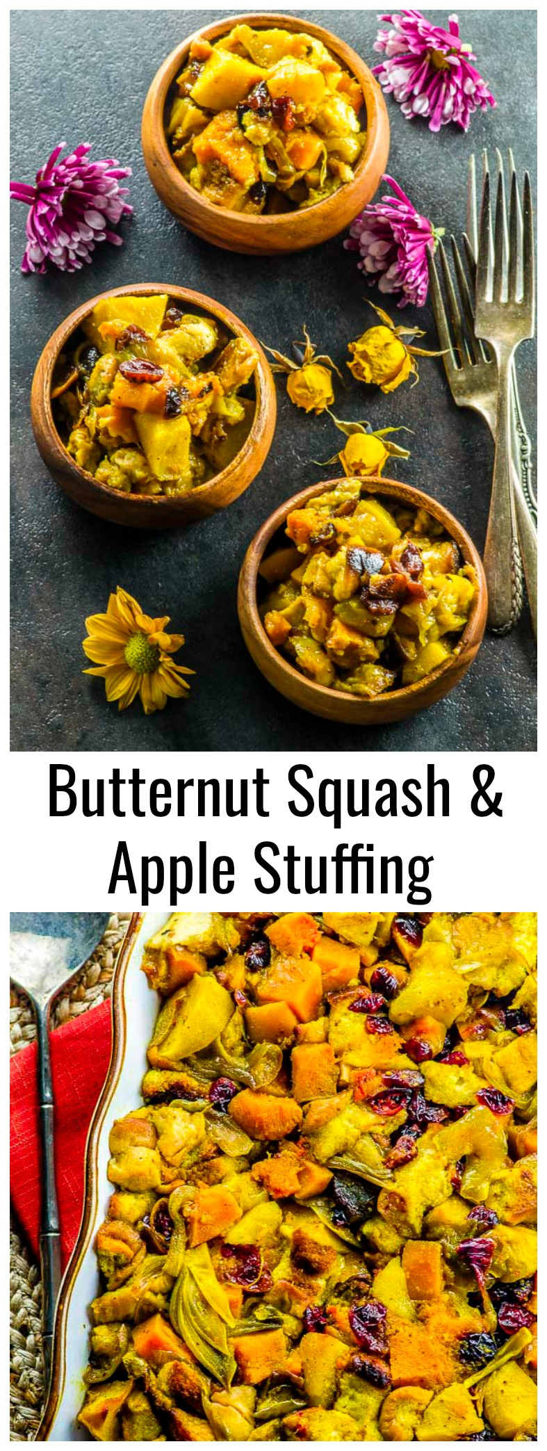 Tired of  serving the same old stuffing every year? Check out this Vegan Butternut Squash Apple Stuffing recipe and you'll surprise everyone at the Thanksgiving table! https://mayihavethatrecipe.com
