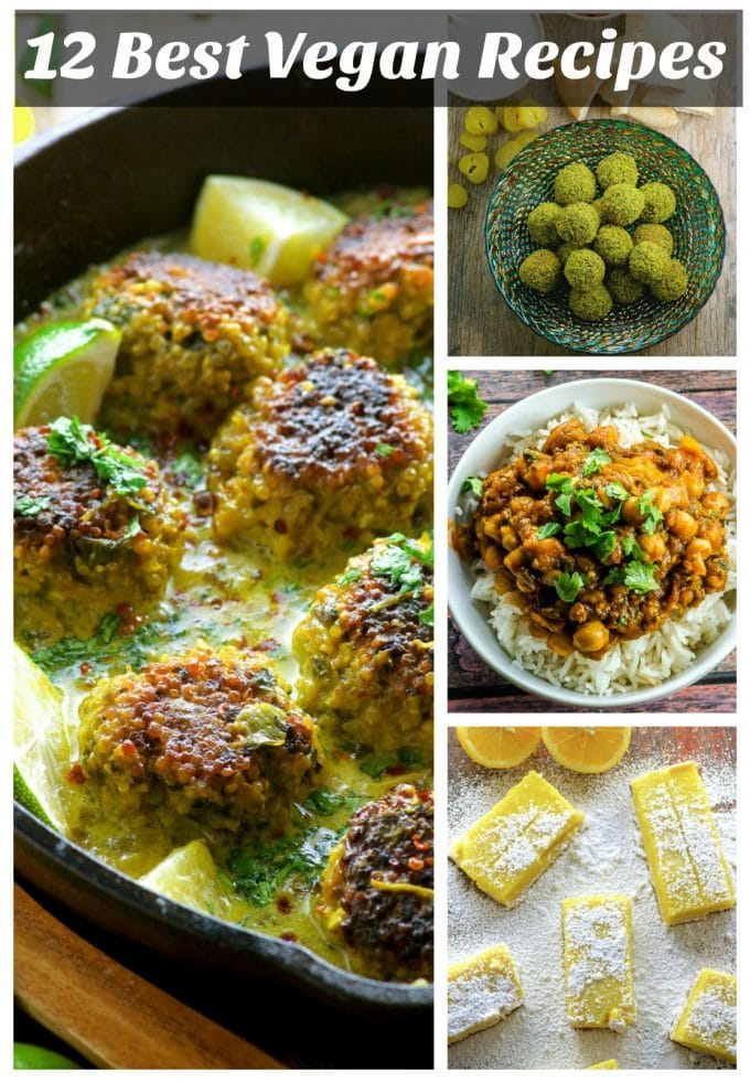 A Collage of 4 vegan recipes. Quinoa meatballs with coconut, turmeric sauce, baked falafel, Chickpea curry and vegan lemon bars
