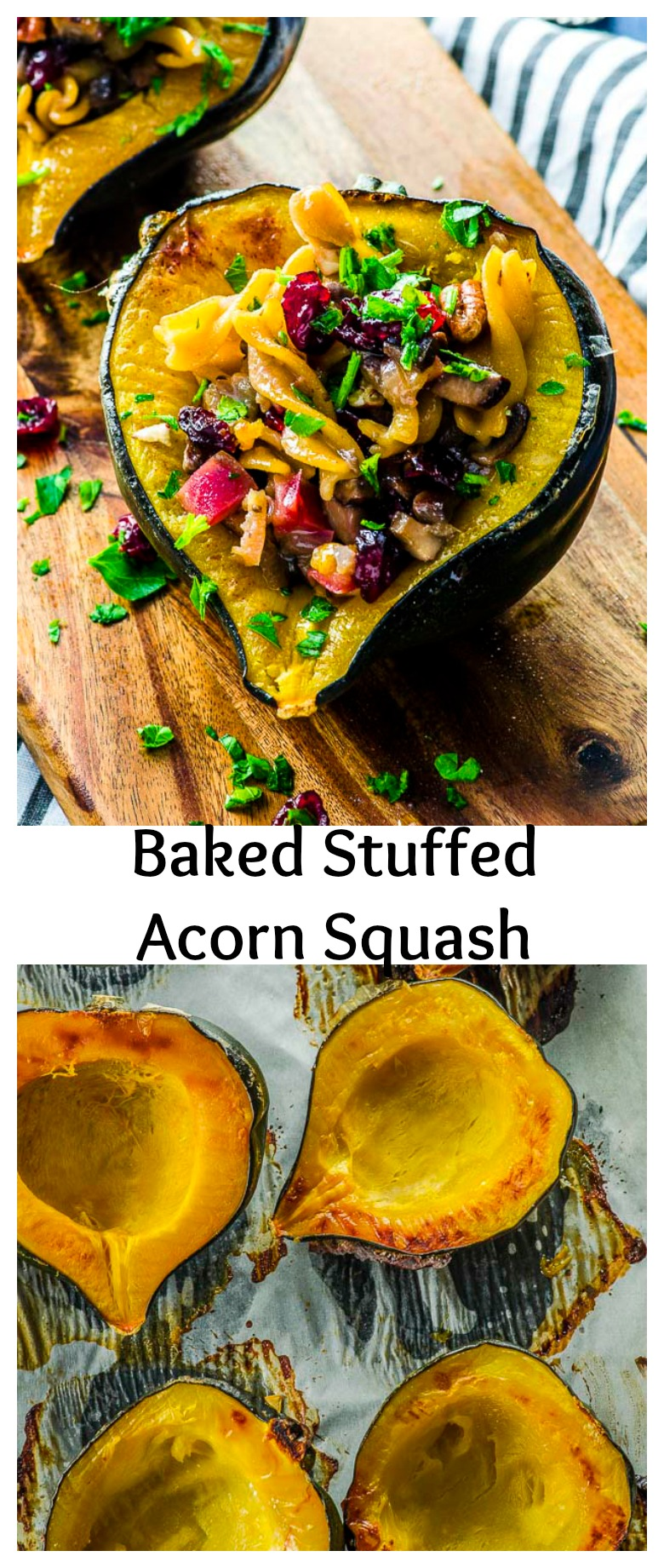 This Baked Stuffed Acorn Squash recipe is easy to prepare and can be served as a vegan, gluten free side or entree on your holiday table or as a weeknight dinner. The acorn squash is stuffed with mushrooms, apples, cranberries pecans and chickpea pasta. The chickpea pasta adds plant based protein, making it a balanced dish.
