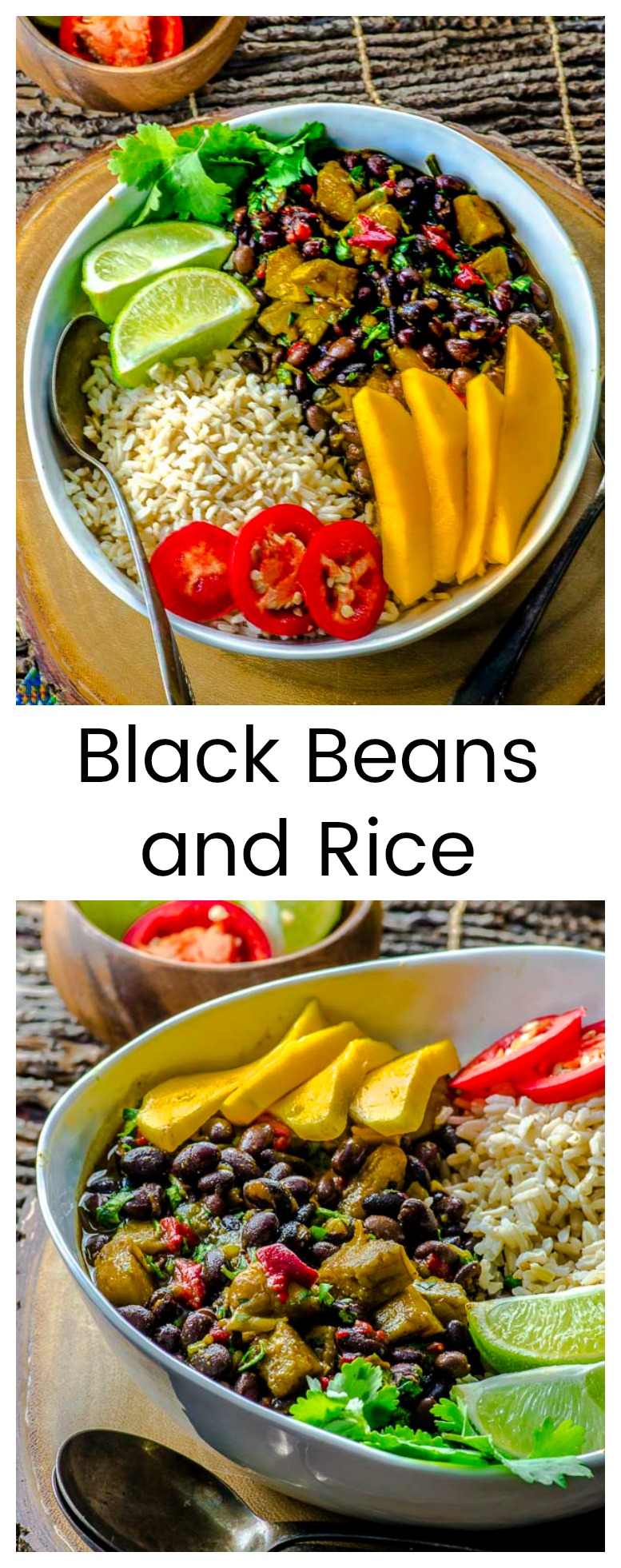This big bowl of Black Beans and Rice with Plantains is a delicious, quick and easy dinner, that is gluten-free, full of fiber, and constitutes a complete protein for vegans and non-meat eaters.