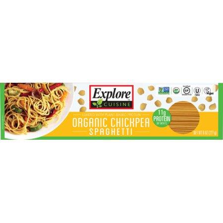 a bo=x of explore cuisine chicpea spaghetti