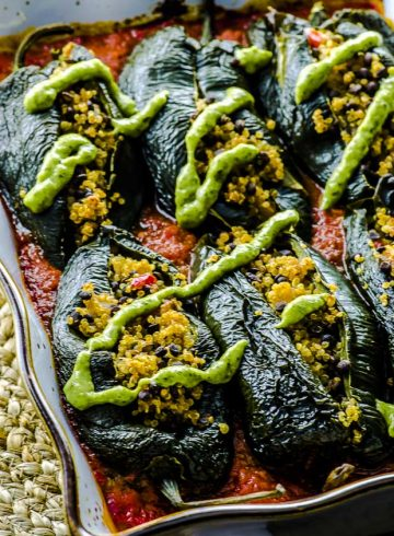 Stuffed Poblano Peppers with Avocado Cilantro Sauce