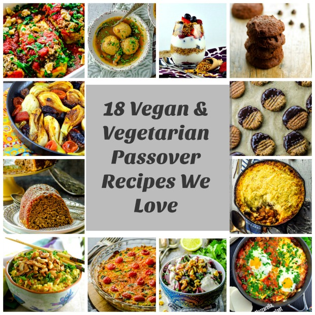 A collage of 16 Vegetarian passover recipe images with a grey square in the middle with the words:18 Vegan & Vegetarian Passover Recipes We Love written in black.