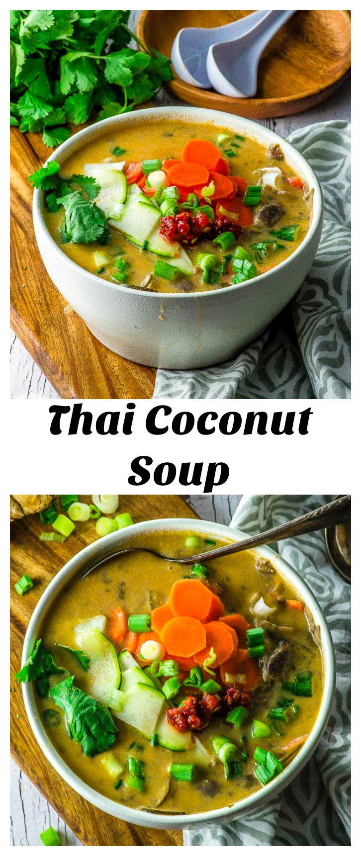 This Coconut Soup is a delightful blend of creamy coconut milk and Asian flavorings. Our vegan recipe uses easily found ingredients to make an exquisite soup. #Vegan #Thai #coconut #soup #passover